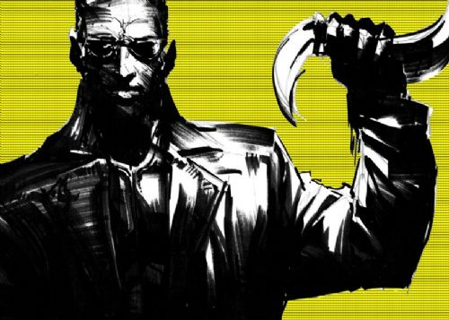 1990's Movie - BLADE SKETCH YELLOW canvas print - self adhesive poster - photo print